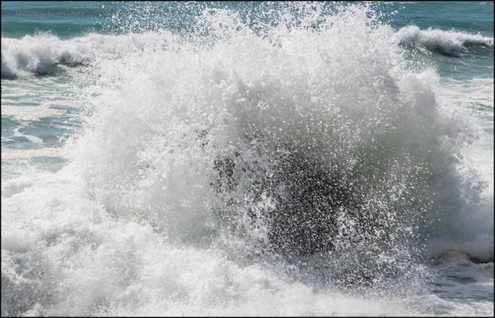 Surf Crashing on Rocks 7705