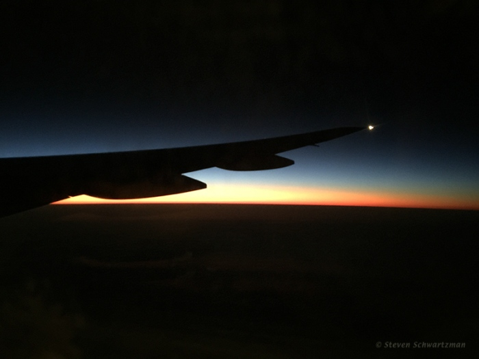 Airplane Wing and Sunrise 0487