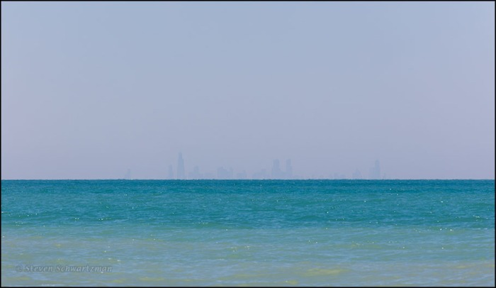Chicago Skyline Faintly Visible Across Lake Michigan 8185